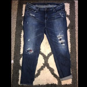 Silver Skinny jeans with patches